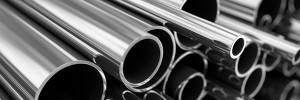 Stack of Polished Steel Pipes
